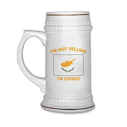 Custom Beer Mug I'M Not Yelling I Am Cypriot Cyprus Ceramic Drinking Glasses Beer Gifts White 18 OZ Design Only