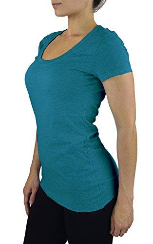Scoop Pocket Tee (Belle Donne- Women's Cotton Short Sleeve Stretchy Scoop Neck Yoga Tshirt- Jade /)