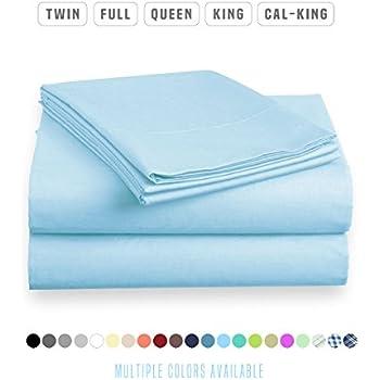 Luxe Bedding Sets - Microfiber Full Sheet Set 4 Piece Bed Sheets, Pillow Cases, Flat Sheet, Deep Pocket Fitted Sheet Set Full Size - Sky Blue