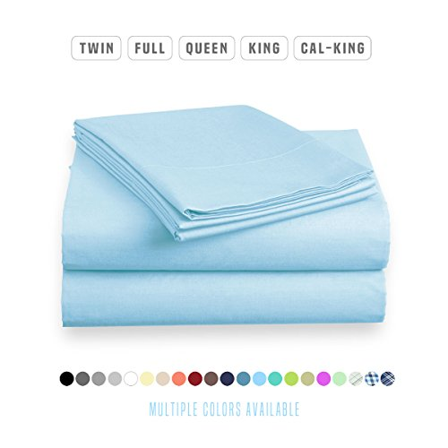 Luxe Bedding Sets - Queen Sheets 4 Piece, Flat Bed Sheets, Deep Pocket Fitted Sheet, Pillow Cases, Queen Sheet Set - Sky Blue (Collection Blue Luxe)