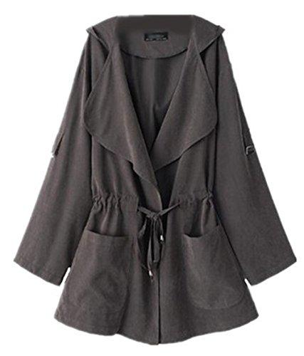 Tayaho Abrigos Manga Larga Mujer Outwear Con Capucha Tops Universidad Paravientos Chaquetas Ligero Coat Con Cuerda Abrigos Color SÓLido Bonitas gris