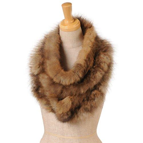 セーブルロングスヌード編込みフリルデザイン毛皮リアルファー高級farマフラーレディース:ミディアム系