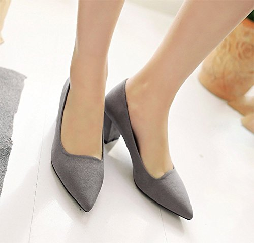 Dorsay Chunky Pumps Womens CHFSO Fleece Gray Toe Mid heel Shoes Office Pointed 8wzzCY