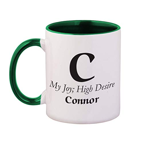 Personalized Custom Text Alphabet Letter My Joy High Desire Ceramic Cup Colored Mug - Green