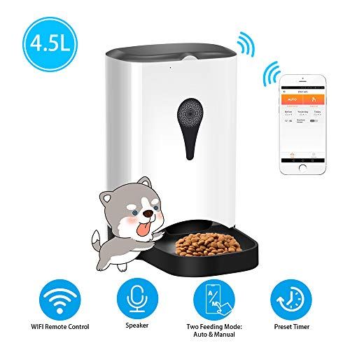 UUNITONA 4.5L Automatic Pet Feeder Cats Dogs Food Dispenser with WiFi Remote Control Timer Programmable Simply Smart…