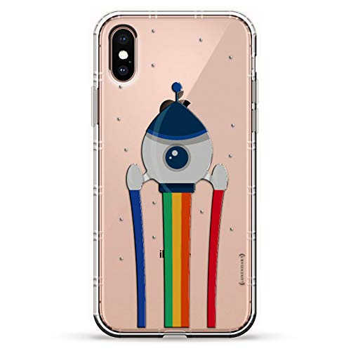 RAINBOW ROCKET LAUNCH | Luxendary Air Series Clear Silicone Case with 3D printed design and Air-Pocket Cushion Bumper for iPhone Xs Max (new 2018/2019 model with 6.5