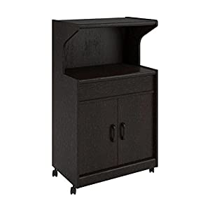 altra microwave cabinet with shelves espresso