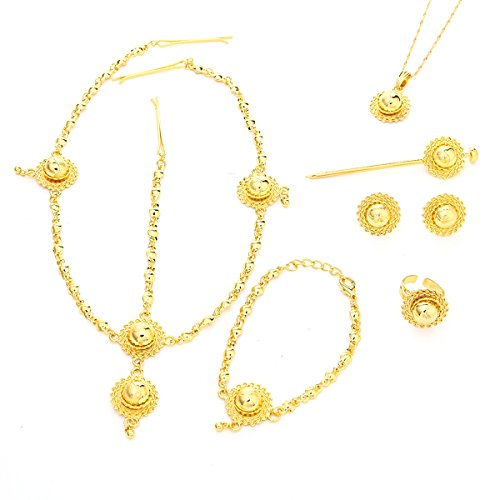 Ethiopian Jewelry Set 24k Gold Plated Hair Piece Pendant Chain Earing Ring Hair Pin Bracelet ()