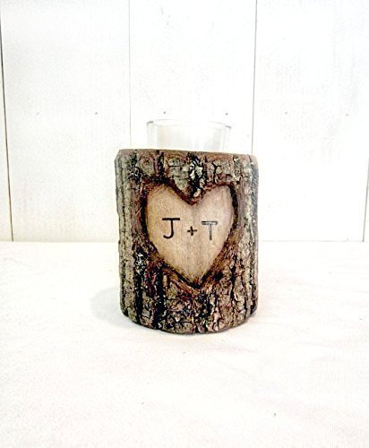 Wood Natural Candle Holder - Natural Log Custom Hand Carved Initials Candle Holders - Personalized Wood Anniversary Gift - Rustic Wedding Centerpiece