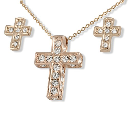 SmitCo LLC Girl Cross Necklace - Rose Gold Plated Pendant and Stud Earrings Set for Kids and (Teenage Costumes Ideas)