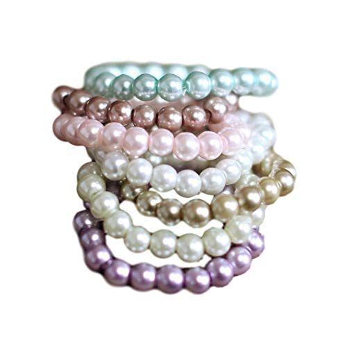 Pearl Bracelet, Choose from 7 Colors, Newborn Photography prop, Toddler, Child, Flower Girl, Adult (12-18 Months, White)