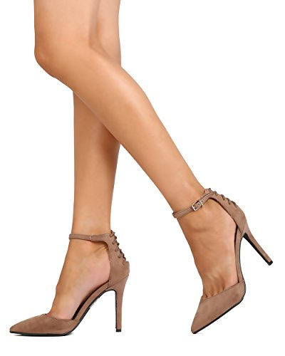 Breckelles Fd24 Women Faux Suede Puntige Teen Dorsay Back Lace Enkelband Stiletto Pump - Natural