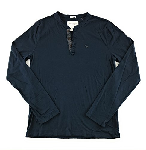 Abercrombie & Fitch Mens Long Sleeve T-Shirt Navy Henley 0250 Large