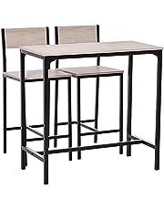 HOMCOM bartafel met 2 stoelen, 3-delige tafelset, barstoel, barkruk, MDF, naturel, zwart, 89 x 45 x 87 cm
