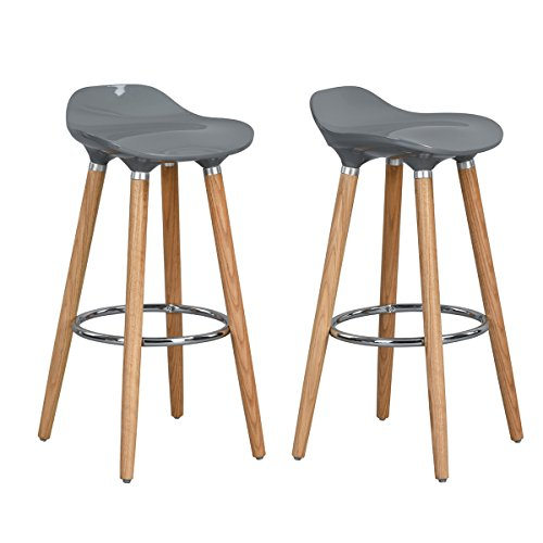 30' Chrome Bar Stool - HOMY CASA Brunch Contemporary Stools 30'' High Vintage Bar Stools Modern Chic Style Backless Stool Metal Chrome with Plywood Finish Legs Counter Stool, Grey, Set of 2