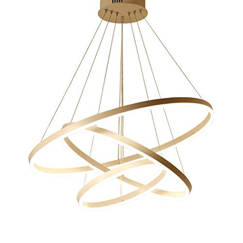 ChuanHan Geometric Chandelier Ambient Light Postmodern Simple Gold Round Pendant Lamp - Adjustable Dimmable, 110-120V / 220-240V, Warm White/White/Dimmable with Remote, White Light