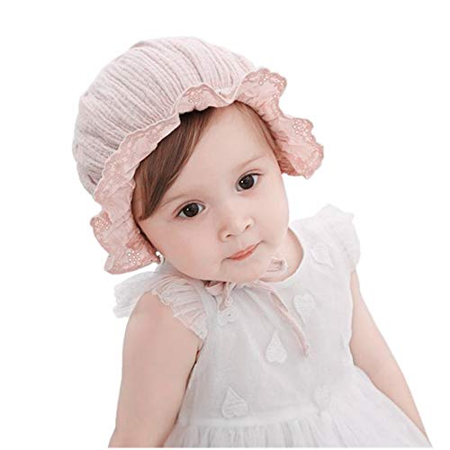 (Baby Girl Toddlers Breathable Lacy Bonnet Eyelet Cotton Adjustable Sun Protection Hat (Flowers Pink))
