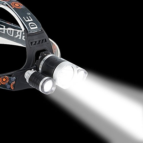 Brightest and Best LED Headlamp 10000 Lumen flashlight - IMPROVED LED, Rechargeable 18650 headlight flashlights, Waterproof Hard Hat Light, Bright Head Lights, Running or Camping headlamps … by HONG (Image #3)