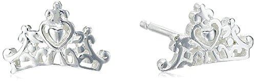 Disney Sterling Silver Princess Crown Post Stud Earrings (Disney Stud Earrings)