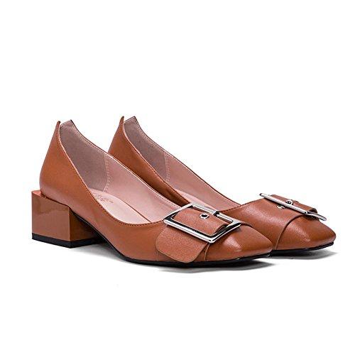 Baile Simple Hebilla Lateral De Casuales Blanco Una Bomba Boca Zapatos Sandalias Brown Superficial Plana Mujer Con pY7tnqExw