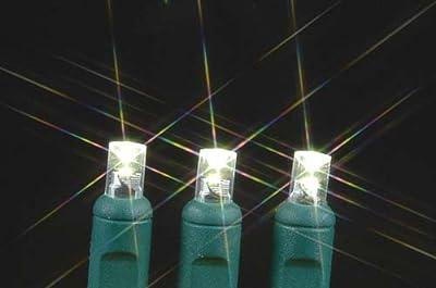 Novelty Lights, Inc. TWIWA50 Commercial Grade Twinkling LED Christmas Mini Light Set, Random Twinkle, Warm White, Green Wire, 50 Light, 25' Long