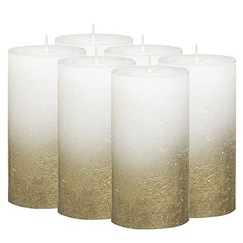 BOLSIUS Rustic Fading Metallic Gold & White Candles - Set of 6 Pillar Candles - White Candles with a Fading Gold Metallic Coat - Perfect Décor Candle - Wedding - Party -130/68m 5X2.75