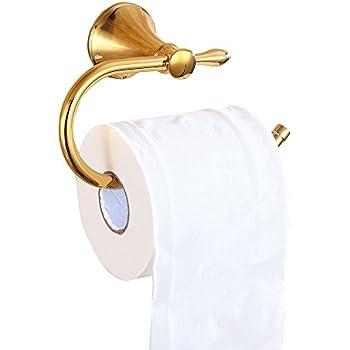 Sumin Home S163041 Bathroom Wall Mount Toilet Paper Holder & Toilet Tissue Holder, Gold