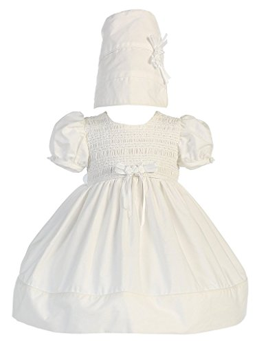 Baby Girl White Cotton Smocked Christening Dress with Hat Small
