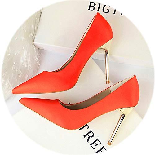 (AMAZING AMAZING Large Size 34-43 Fashion Metal Heel Women's Wedding Shoe New Solid Silk Shallow Concise Women Pumps,Orange)