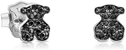 TOUS Motif - Pendientes de plata de primera ley con espinela. Motivo: 7,5 cm. Cierre presión.