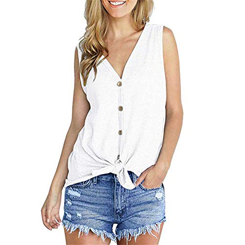 HEQUSigns Womens Waffle Knit Tunic Blouse Tie Knot Henley Tops Loose Fitting Bat Wing Plain Casual Fashion Shirts(M White)