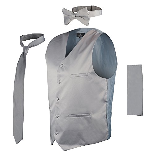 Vittorino's 4 Piece Formal Tuxedo Vest Set Combo with Tie Bow Tie and Handkerchief,Grey,XX-Large