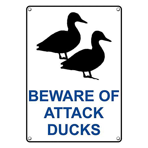 Weatherproof Plastic Vertical Beware Of Attack Ducks Sign with English Text and Symbol by SignJoker