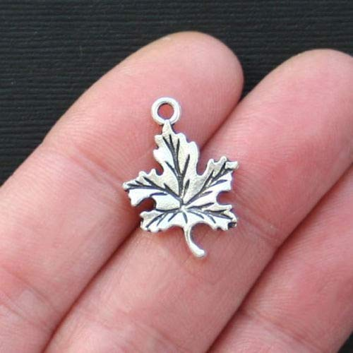 Jewelry Making 10 Leaf Charms Antique Silver Tone Maple Leaf Charm- SC2759 Perfect for Pendants, Earrings, Zipper pulls, Bookmarks and Key Chains