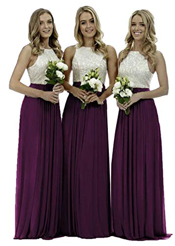 Plum Chiffon - Lace Bridesmaid Dresses Long a-line Chiffon Evening Gown Wedding Party Womens 2019 Plum 8