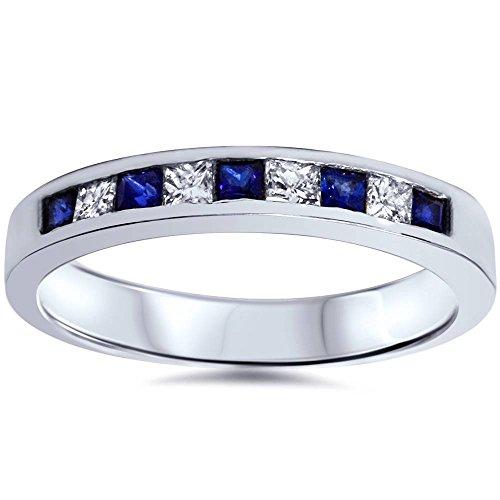 - 1/2ct Princess Cut Sapphire & Diamond Wedding 14K White Gold Ring - Size 8