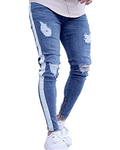 Elasticizzati Pantaloni Tessitura Da Jeans Slim Liangzhu Denim Zip Strappati Fit Bianca Denudati Con Skinny Uomo YFqnA