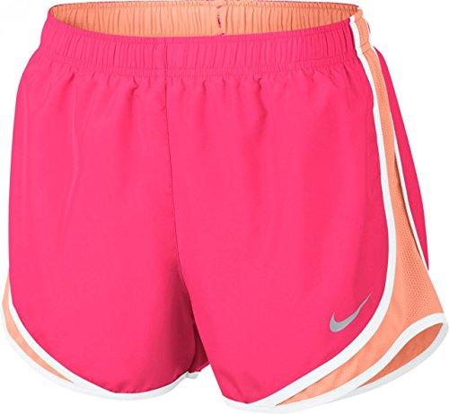 (NIKE Women's Dri-Fit Tempo Running Shorts-Racer Pink/Sunset Glow-XS)
