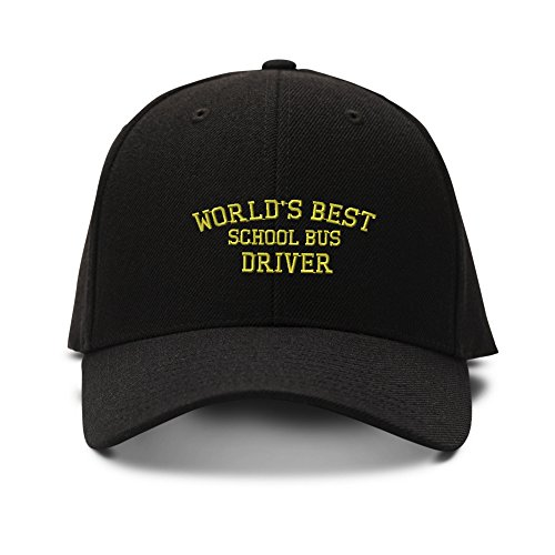 (Worlds Best School Bus Driver Embroidered Unisex Adult Hook & Loop Acrylic Adjustable Structured Baseball Hat Cap - Black, One Size)