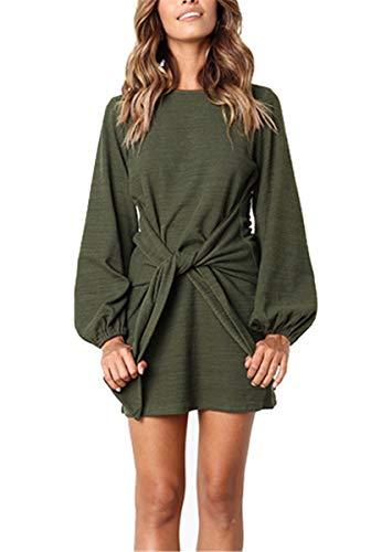 MIDOSOO Womens Casual Boat Neck Long Puff Sleeve Tie Belt Mini Dress Green (Puff Sleeve Womens Dress)