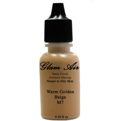 Large Bottle Airbrush Makeup Foundation Matte Finish M7 Warm Golden Beige Water-based Makeup Long Lasting All Day Without Smearing Running, Fading or Caking 0.50 Oz Bottle By Glam Air