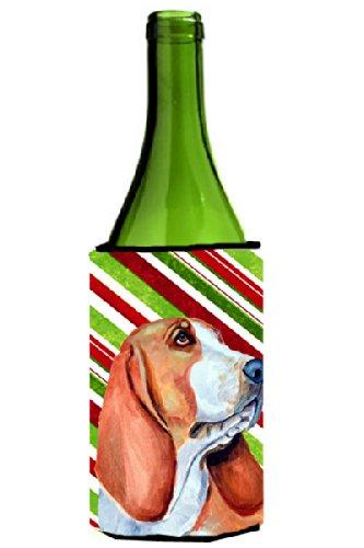 Basset Hound Candy Cane Holiday Christmas Wine Bottle Beverage Insulator Beverage Insulator Hugger - Candy Cane Huggers