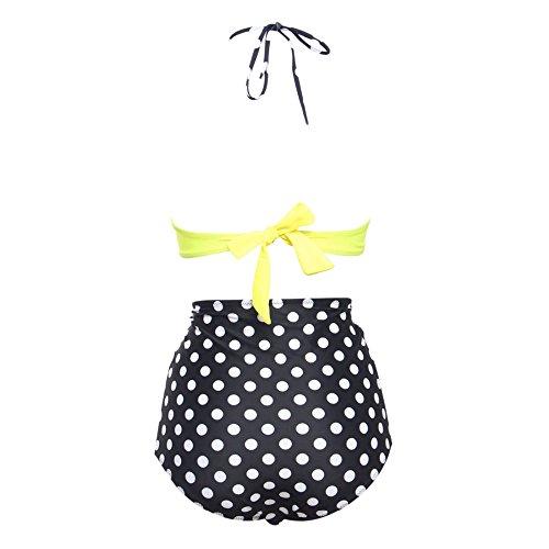 Ingsist femenino alto talle traje de baño vendimia polca Dower bikini conjunto baños siguiente amarillo