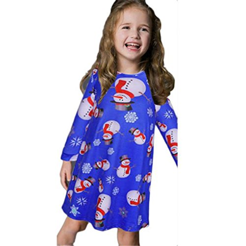 Print Snowman Xmas Blue Girl Kids Dress 110Cm Size Fall Clothes Christmas Swing Sleeve Winter Baby Dress Haoricu Black Girl Long f7Pwqx8Hw