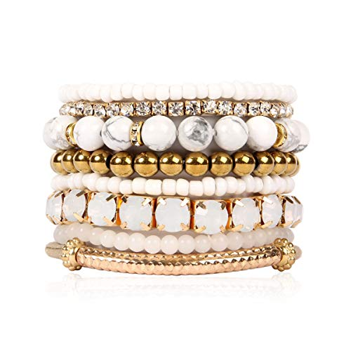 Gold Bead Stretch Bracelet - RIAH FASHION Multi Color Stretch Beaded Stackable Bracelets - Layering Bead Strand Statement Bangles (Natural Stone - White Howlite/Gold, 7)