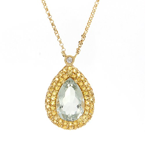 VictoriaKay Green Amethyst and Diamond Pear Shaped Pave Halo Pendant (H-I, SI1-SI2) (& Sapphire Necklace Green Amethyst)