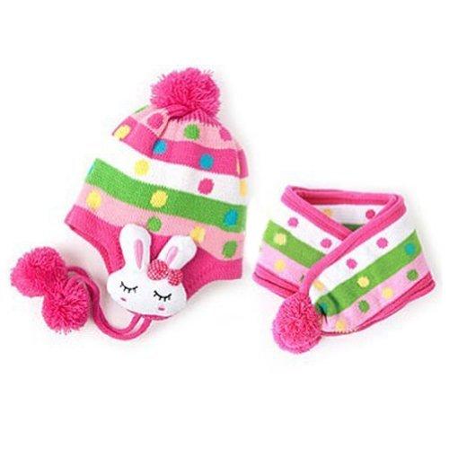 Dealzip Inc® Rose Red Unisex Baby Kids Girls Boys Winter Warm Knitted Dots Stripes Cute Rabbit Design Hat Scarf Set -