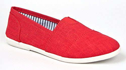 Soda Women Object-S Flats-Shoes,Red,6