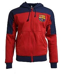 Fc Barcelona Youth Hoodie Boys Zip Front Fleece Sweatshirt Jacket (YL)