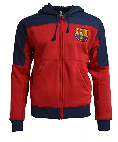 Barcelona Hoody - Fc Barcelona Hoodie Adults Zip Front Fleece Sweatshirt Jacket Blue (M)